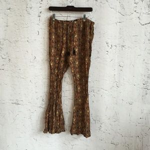 VOLCOM BOHO BROWN PRINT BELL BOTTOM PANTS  L